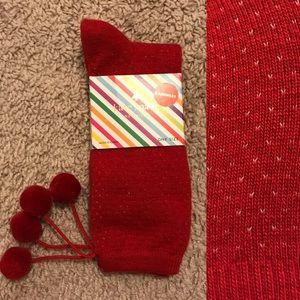 Kate Spade Cashmere PomPom Trouser Socks